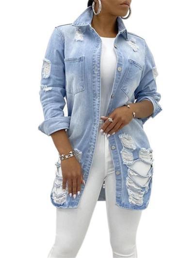 Fashionable Chest Pocket Lapel Collar Ripped Design Denim Coat