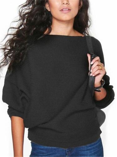 Relaxed Fit Round Neck Solid Color Long Sleeve Pullover Knitted Sweater
