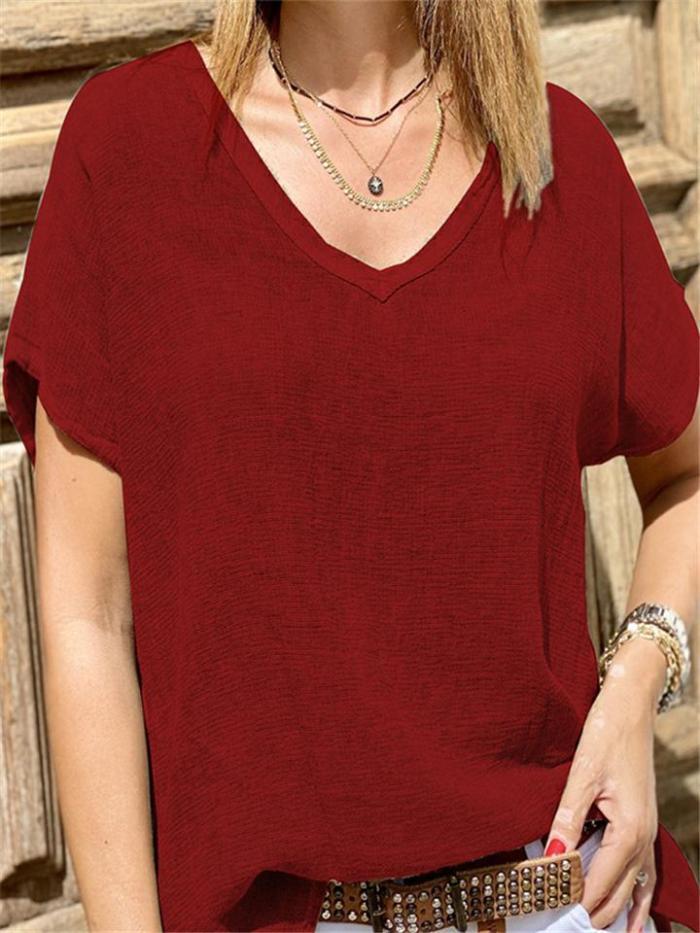 Loose Fit V Neck Solid Color Short Sleeve Cotton Linen T-Shirt