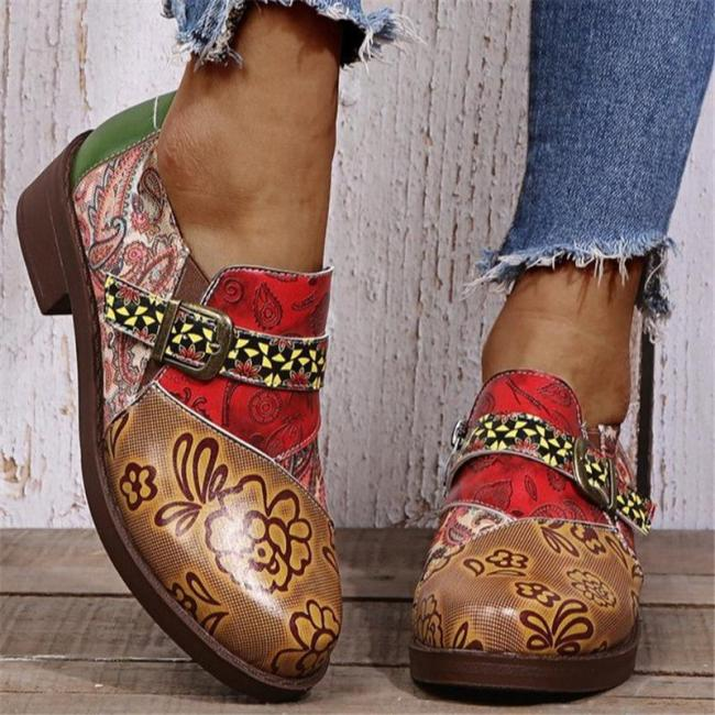 Bohemian Style Low-Cut Chunky Low Heel Buckle Up Shoes