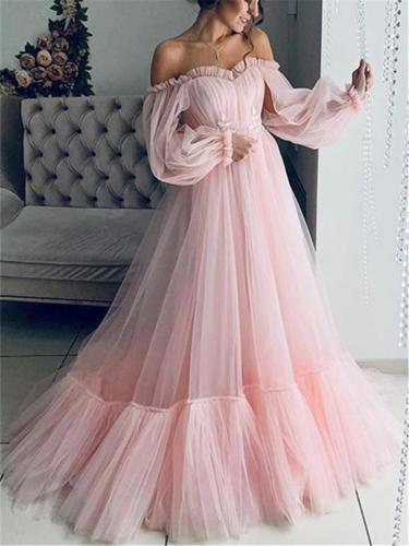 Flowing Off Shoulder Long Balloon Shoulder Tulle Wedding Dress