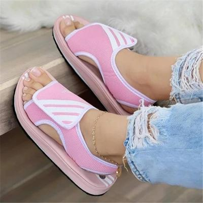 Casual Style Open-Toe Platform Thick-Sole Velcro Sandals