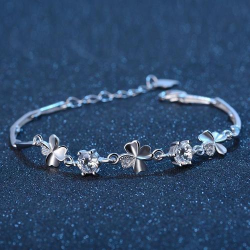 Real 925 Silver Crystal Lucky Clover Bracelet