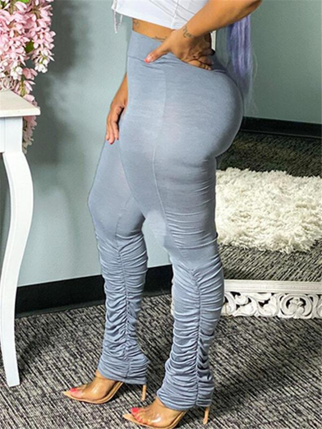 Casual Fit Solid Color High-Rise Ruched Leggings Skinny Pants