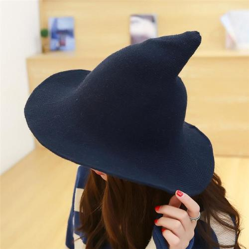 Large Brimmed Pointed Wizard Knitted Woolen Hat