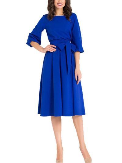 Stylish Round Neck Solid Color Waist Tie 3/4 Sleeve Pleated Midi Dress
