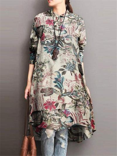 Vintage Style Button Up Stand Collar Floral Cotton Midi Tops