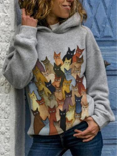 Extra Cozy Cats Printed Long Sleeve Hooded Sweatshirt