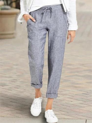 High Waist Front Drawstring Loose Cotton Linen Pants