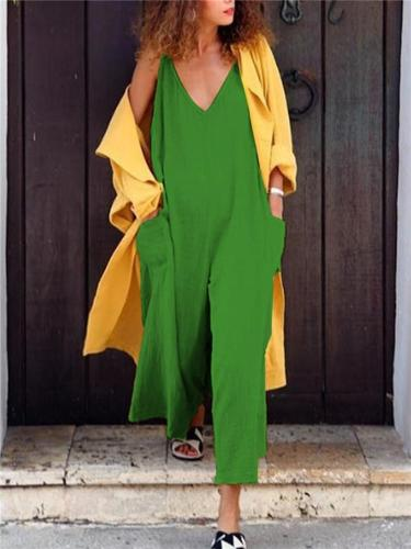 Loose Spaghetti Strap Jumpsuits With Pockets
