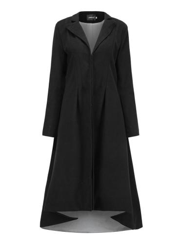 Casual Fit Lapel Collar Ruched Design Button Up Long Coat