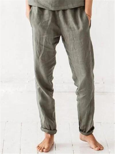 Casual Style Lightweight Elastic Waistband Solid Color Pocket Pants