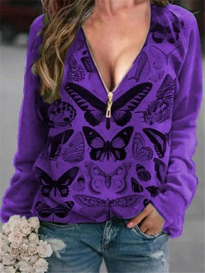 Comfortable V Neck Front Zipper Butterfly Long Sleeve Pullover Tops