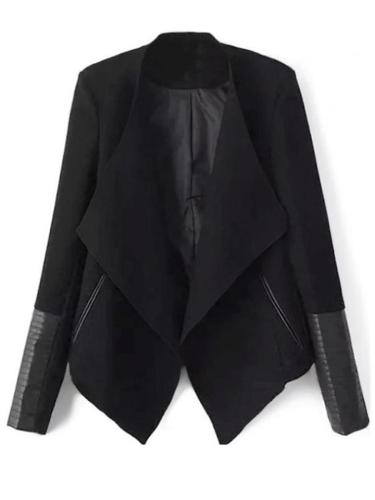 Fashion Slim-fit Solid Color PU Leather Zipper Sleeve Short Coat