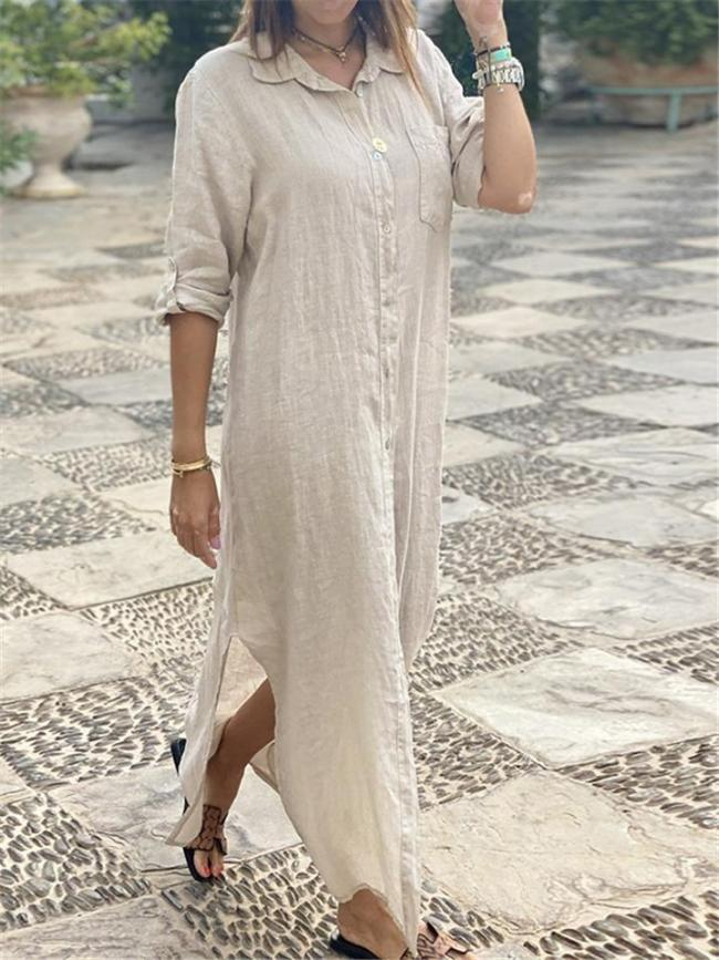 Minimalist Style Lapel Collar Rolling Up Long Sleeve Maxi Cotton Linen Dress