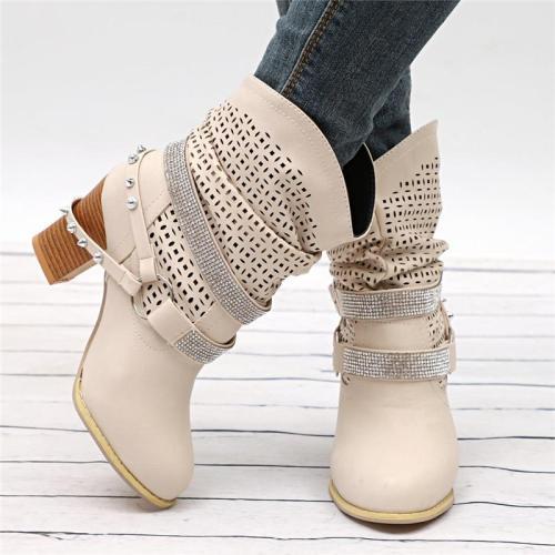 Stylish Mid Heel Rhinestone Deco Buckle Up Boots