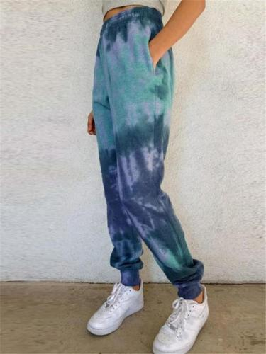 Cool Fashion Tie-dyed Elastic Waist Casual Pants