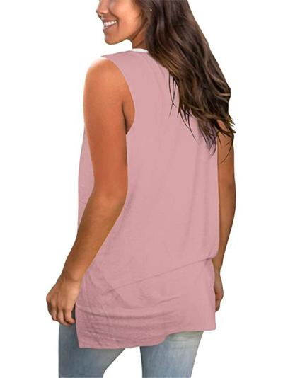 Casual Style V Neck Contrasting Sleeveless Tank Tops