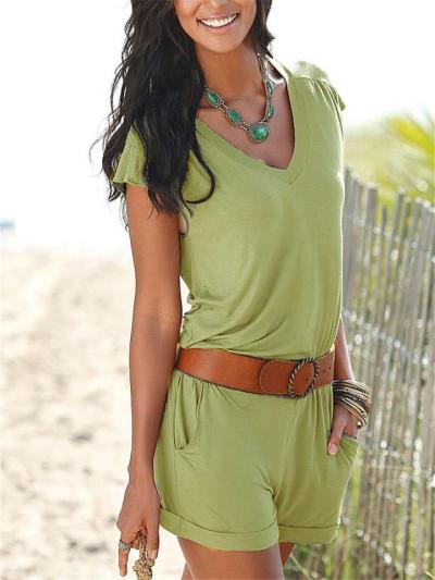 Relaxed Fit Solid Color Short Sleeve V-Neck Pocket Rompers