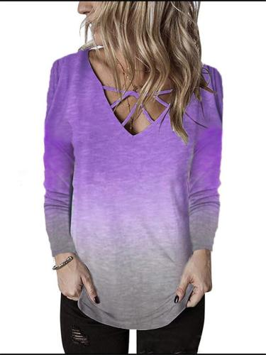 V-neck Rainbow Gradient Print T-shirt