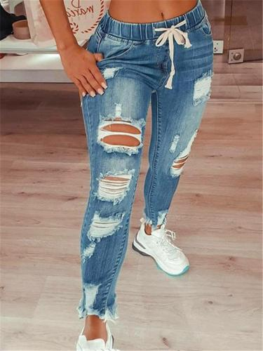 Tapered Fit High-Rise Elastic Waist Drawstring Ripped Jeans