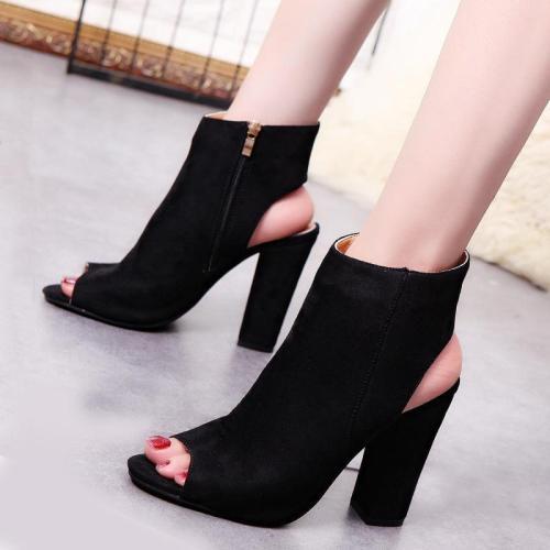 Women's Big Size Peep Toe Chunky Heel Pumps