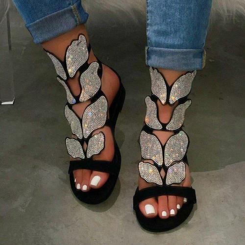 Women's Super Cute Butterfly Shape Crystal Sandals