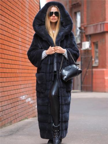 Extra Cozy Warm Faux Fur Open Front Pocket Hooded Long Coat