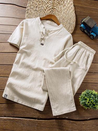 Comfort Linen Sets Short-sleeved T-shirt + Trousers