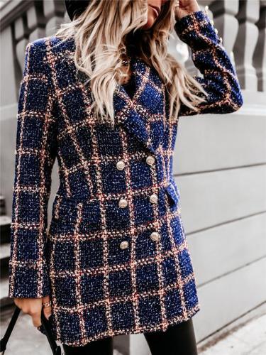 Stylish Double-Breasted Lapel Collar Plaid Long Sleeve Blazer Coat
