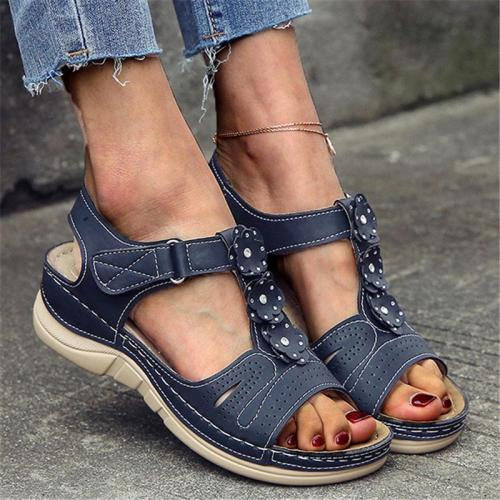 Comfortable Soft Footbed Open-Toe Velcro Thick-Sole Floral Sandals