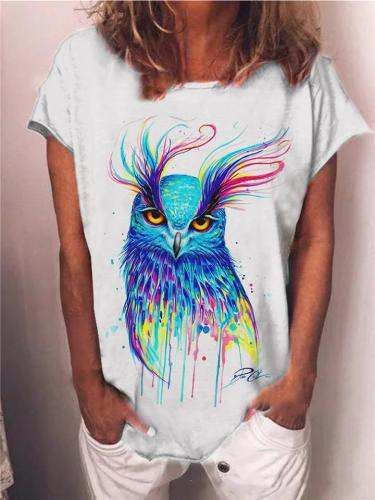 Casual Fit Animal Printed Round Neck Short Sleeve Pullover T-Shirt