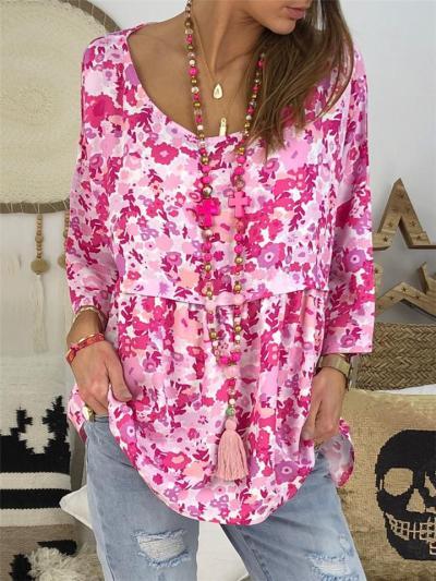 Oversized FloralScoop Neck 3/4 Sleeve Ruffle Design Pullover Tops