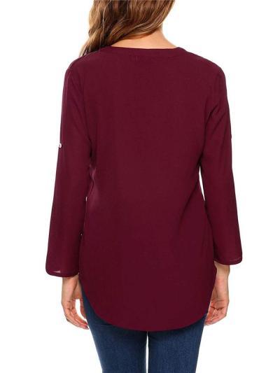 Regular Fit Half Zipper Rolling Up Long Sleeve Solid Color Blouse