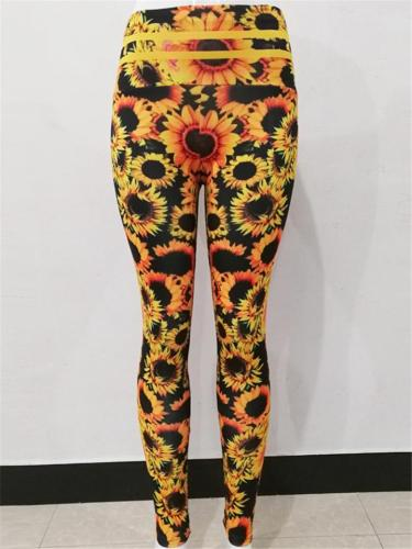 Slim Fit High-Rise Sunflower Printed Yoga Leggings Jogger Pants