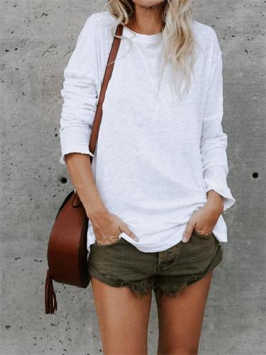 Casual Lightweight Solid Long Sleeve Cotton T-Shirt