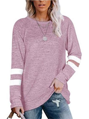 Casual Fit Striped Round Neck Long Sleeve Pullover Shirt & Tops