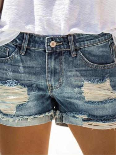 Stylish Button Pocket Ripped Design Denim Hot Shorts