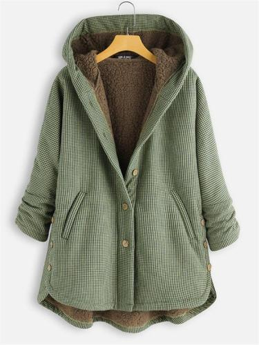 Ultra Cozy Button Up Pocket Plaid Long Sleeve Fur Hooded Coat