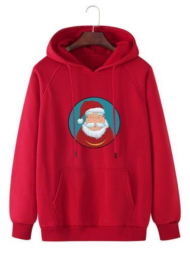 Mens Funny Santa Claus Printing Kangaroo Pocket Long SleeveHoodie