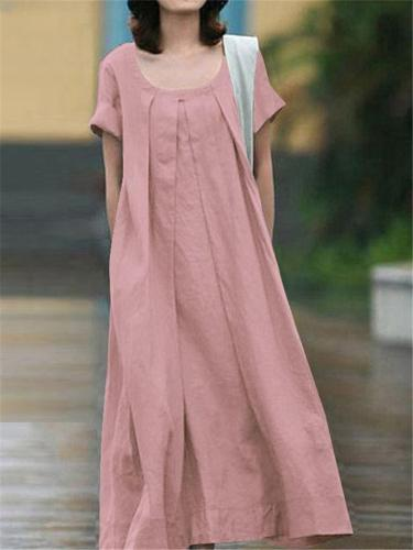 Vintage Style Scoop Neck Short Sleeve Solid Color Pleated Maxi Dress