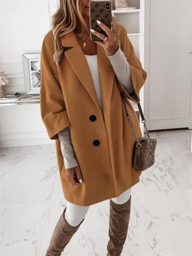 Comfortable Notched Lapel Collar Button Up 3/4 Sleeve Coat