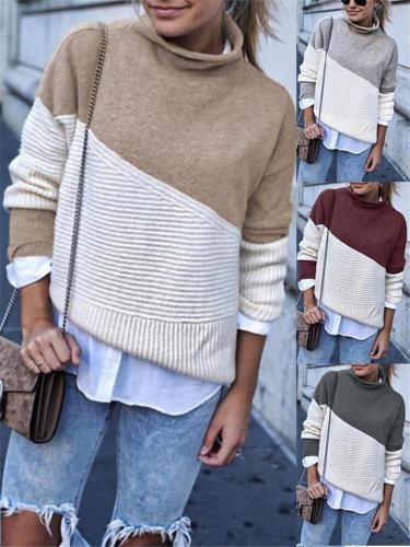 Stylish Asymmetric Design Turtleneck Knit Shirts