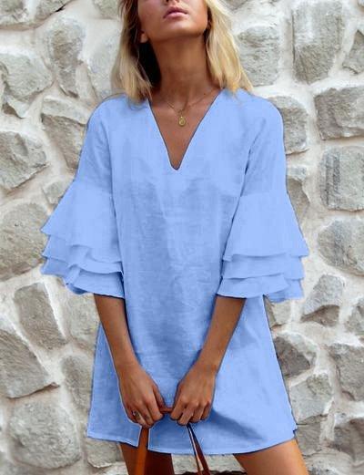 V Neck Shift Casual Half Sleeve Vacation Dresses