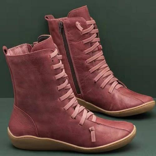 Side Zipper Round Toe  Thick Warm Low Heel Women's Shoes