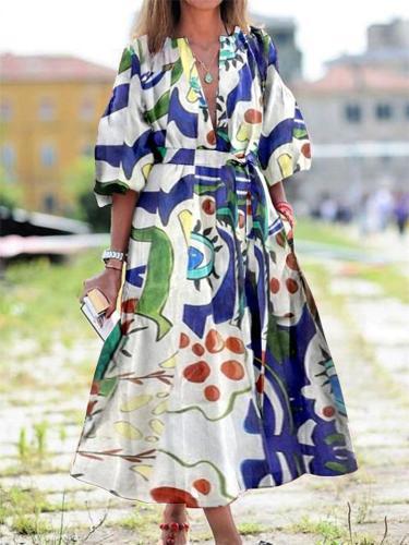 Ethnic Style Floral Print V Neck Long Loose Dress