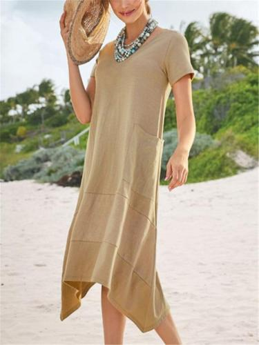 Relaxed Fit Round Neck Short Sleeve Solid Color Pocket Midi Dress