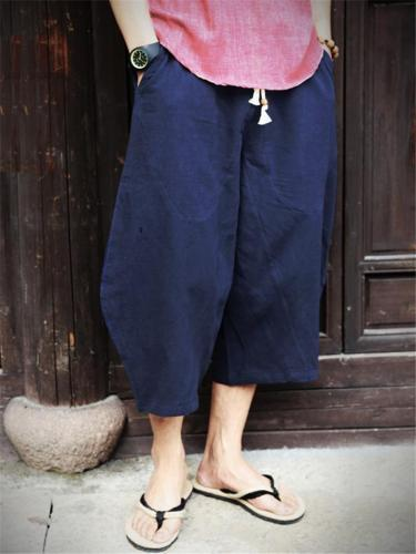 Men's Casual Linen and Cotton Drawstring Harem Pants