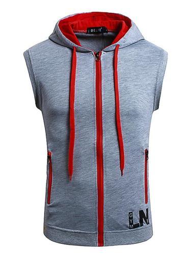 Color Matching Zipper Hoodie Waistcoat