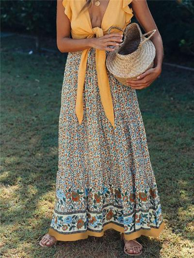 Fashionable Elastic Waistband Floral Printed Pleated Maxi Skirt